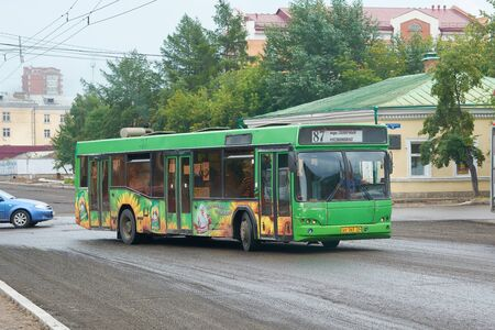 Krasnoyarsk, Russia - July 28, 2018: Passenger bus MAZ-103. The movement on changed a route in connection with repair of a paving.
