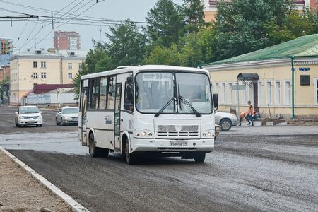 Krasnoyarsk, Russia - July 28, 2018: Passenger bus PAZ 4234. The movement on changed a route in connection with repair of a paving. Redactioneel