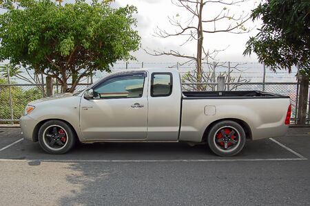 Pattaya, Thailand - February 16, 2017: The beautiful car Toyota Hilux on the parking, after small tuning