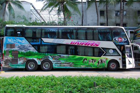Pattaya, Thailand - May 12, 2018: The excursion bus expects group of tourists in the territory of hotel.