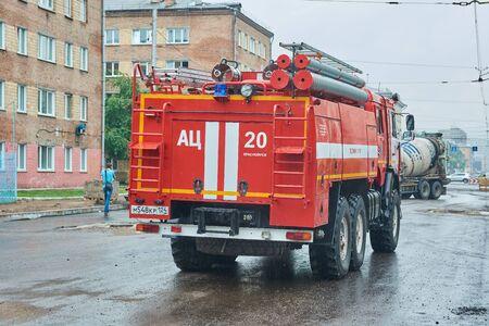 Krasnoyarsk, Russia - July 28, 2018: KAMAZ-43118 fire truck preparation to patrol of an action. Rear look.