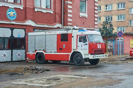 Krasnoyarsk, Russia - July 28, 2018: KAMAZ-43253, Departure of fire trucks before patrol of public actions