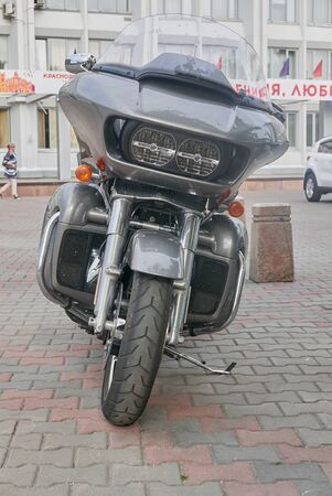 Krasnoyarsk, Russia - August 17, 2018: Harley Davidson 107 motorcycle is parked on specially organized parking for motorcycles separately from cars. Front view.