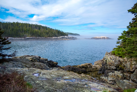 Rocky Coastline on Island in Maine, Isle au Haut Stock Photo