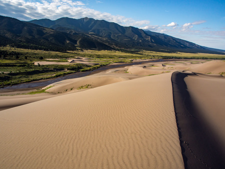 Mountains and Sand Dunes, Great Sand Dunes National Park Stock Photo