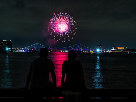Couple Watching Fireworks, Philadelphia 4th of July