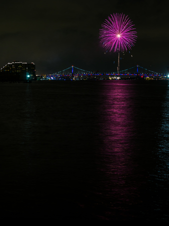Fireworks over Bridge and Water, Philadelphia 4th of July