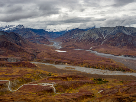 Denali National Park Landscape, Road Through Tundra, Mountains and Valley View