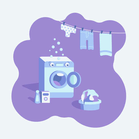 The washing machine is in shock. Too much dirty Laundry. Vektoros illusztráció