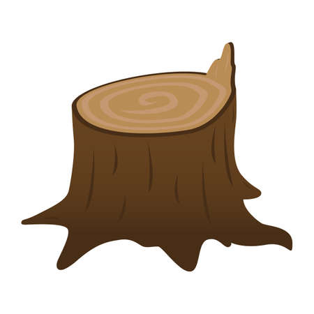 Stump isolated on a white background. A stump with a broken branch. Stump of oak, aspen, Rowan, spruce, pine, maple. Timber harvesting.