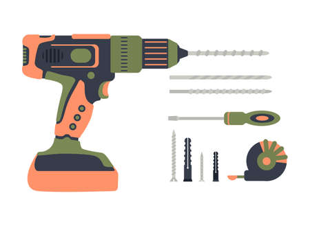 A set of construction tools. Drilling machine, drill, screwdriver, self-tapping screw, dowel, tape measure. Power tool, perforator,