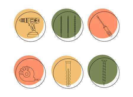 A set of icons of construction tools. Drilling machine, drill bits, screwdriver, self-tapping screw, dowel, tape measure. Power tool, hammer drill