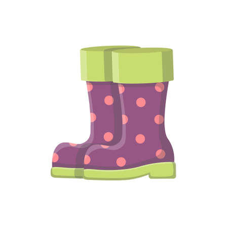 Rubber boots with polka dots. Waterproof shoes. The theme of the garden. Insulated boots on a white background.