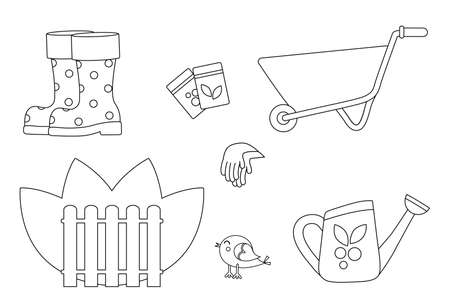 Set of garden wheelbarrow, fence and garden accessories. Coloring book for children. Garden supplies. Watering can next to the wheelbarrow and rubber boots. Gardening gloves for planting seeds