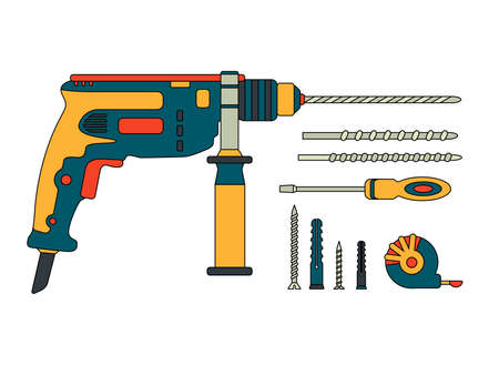 A set of construction tools. Cartoon drilling machine, drill, screwdriver, self-tapping screw, dowel, tape measure. Power tools, hammer drill. Fastening element.
