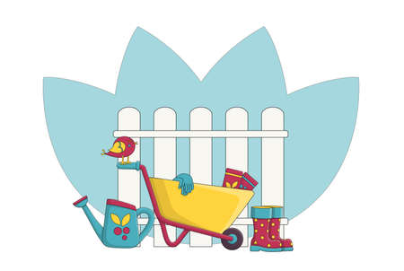 Garden wheelbarrow next to the fence and garden accessories. Concept. Garden supplies. Watering can next to the wheelbarrow and rubber boots. Gardening gloves for planting seeds. Colorful picture. Cartoon