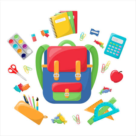 School backpack with writing materials. Bright and colorful backpack. In the style of the cartoon. Isolated on a white background. A set of school accessories.