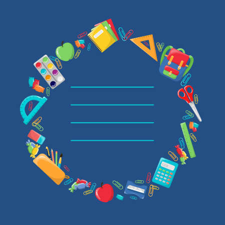 Postcard on the theme of school. Greeting card. School supplies, colorful set on a blue background.
