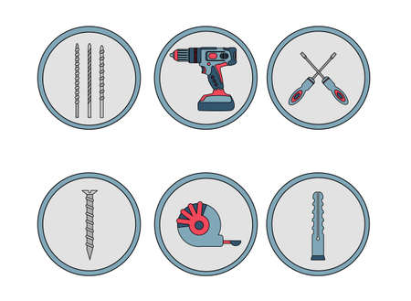 A set of icons from construction tools. Pins. Drilling machine, drill, screwdriver, self-tapping screw, dowel, tape measure. Power tools, hammer drill. Red, blue and gray.