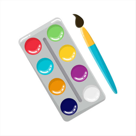Watercolors with a brush. Accessories for creativity and painting. A set of paints in different colors. Isolated on a white background.