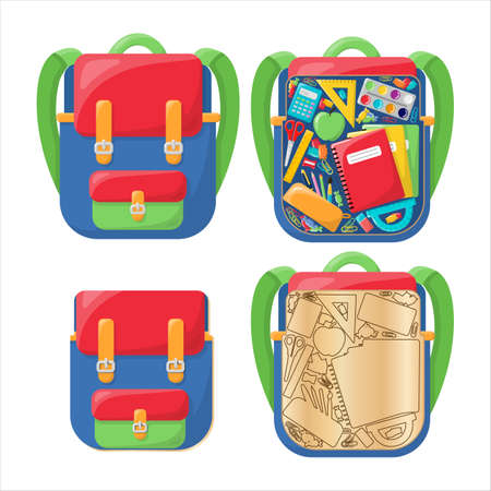 Wooden toy writing supplies in a school backpack. Bright and colorful backpack. In the style of a cartoon. Isolated on a white background. Educational toy inserts. Stock Illustratie