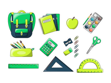 A set of writing materials and a backpack. Bright and colorful backpack. In the style of a cartoon. Isolated on a white background. A set of school supplies.