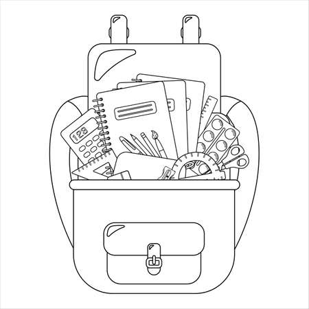 School backpack with writing materials. In the style of a cartoon. Isolated on a white background. Concept of school supplies. Picture for coloring