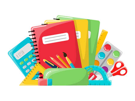 The concept of school supplies. In the style of a cartoon. Isolated on a white background. Stationery.