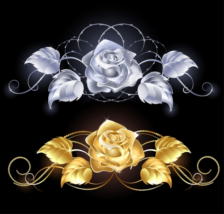 silver jewellery: two shiny, gold rose, gold and silver on a black background