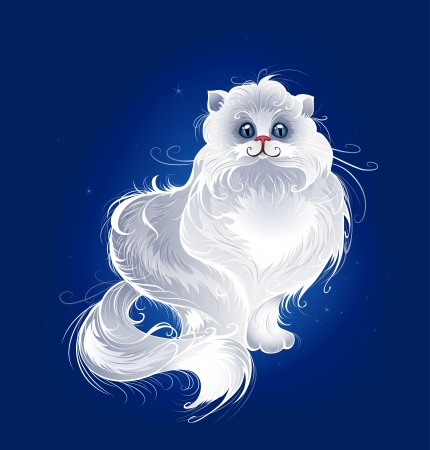 artistically painted, white, very fluffy Persian cat on a dark blue glowing background.  Illustration