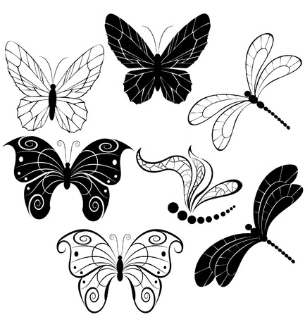 pastiche: black silhouettes of stylized butterflies and dragonflies on a white background.