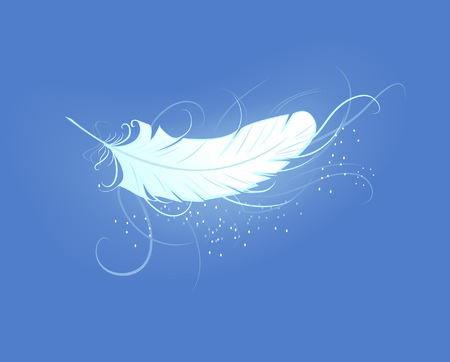 briliance: artistically painted, white, luminous feather angel on the blue background