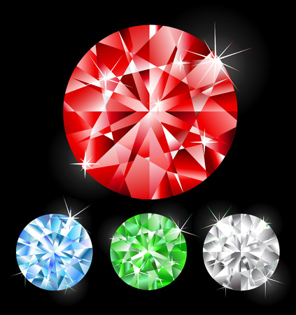 ruby: Faceted, ruby, sapphire, diamond, emerald round shape on a black background.