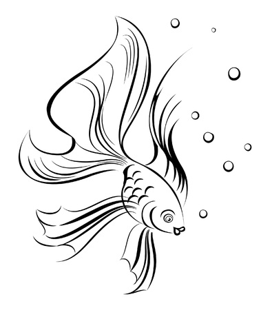 stylization: outline silhouette of fish on white background