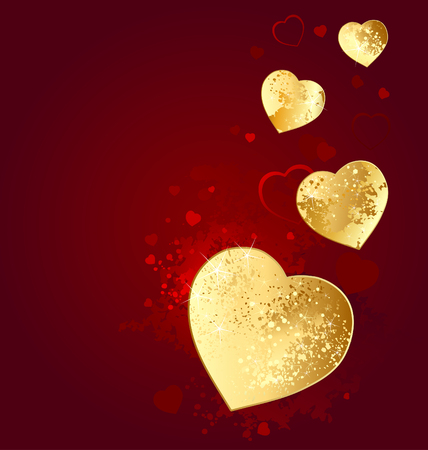 Heart of gold foil on a red glowing background.