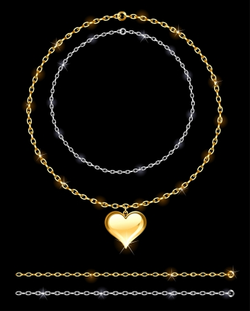 gold and silver chain adorned with gold jewelry heart on a black background Vector