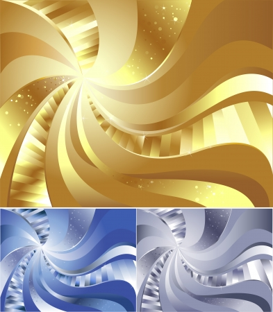 abstract gold background with sweeping lines, decorated with shining faces.