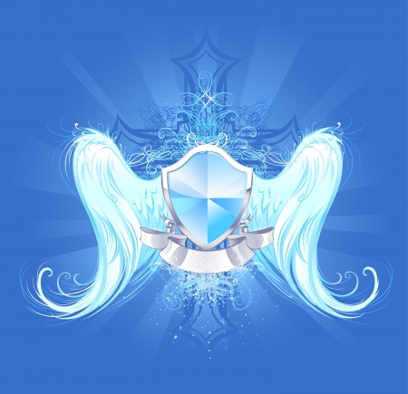 Crystal blue shield with white angel wings artistically painted in the blue glowing background, decorated with a cross and a pattern.