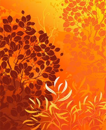 orange background with bright autumn aspens, and decorative shrubs.  Vector