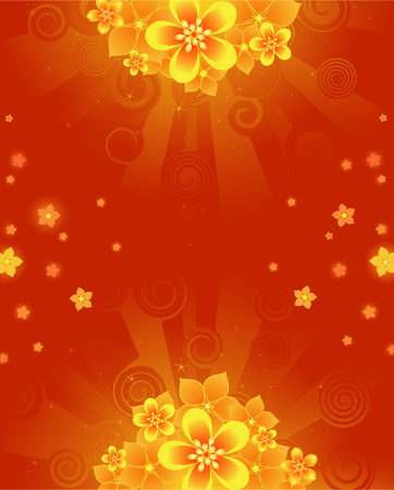 Glowing red, summer background with orange with bright colors.