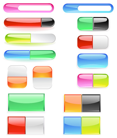 banner, made of bright colored glass, are divided into two buttons.  Vector