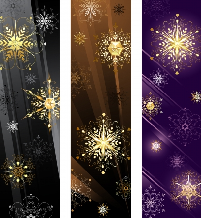 three vertical banner with gold snowflakes on a black, brown and purple background.