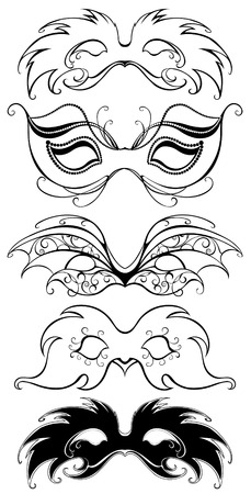 five black masks, art painted flexible black outline and decorated with beautiful patterns.  Illustration