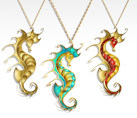 three gold jewelry inlaid seahorse turquoise and red paint with a shiny gold chain  Vector