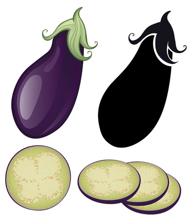 stylized eggplant slices of eggplant and natural on a white background.