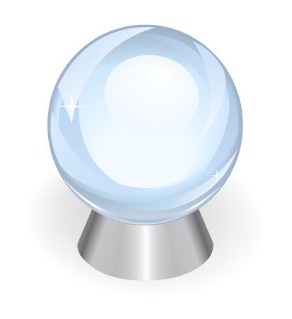 예측: 흰색 배경에 실버 지원에 대한 결정에서 미래의 예측을위한 아름다운 투명 공 일러스트