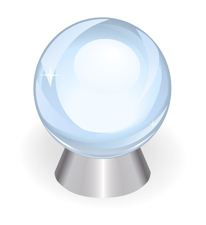 prediction: beautiful transparent ball for the prediction of the future from a crystal on silver support on a white background Illustration