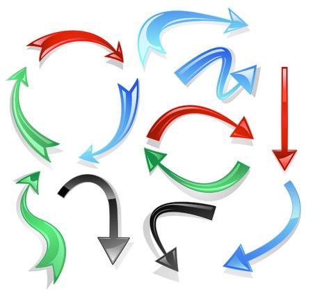 flechas curvas: volumen curvo flechas de cristal: negro, rojo, verde y azul sobre un fondo blanco