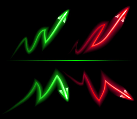 deflation: direction of inflation and deflation of the red and green neon on a black background