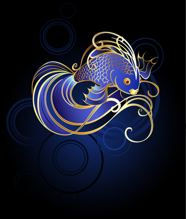 shiny, jewelry, gold fish with a beautiful long tail and fins on a blue background.